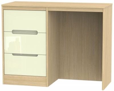 Monaco High Gloss Cream and Light Oak Dressing Table - Vanity Knee Hole