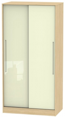 Monaco 2 Door Sliding Wardrobe - High Gloss Cream and Light Oak