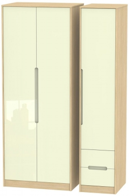 Monaco 3 Door 2 Right Drawer Tall Wardrobe - High Gloss Cream and Light Oak