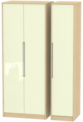 Monaco 3 Door Tall Wardrobe - High Gloss Cream and Light Oak