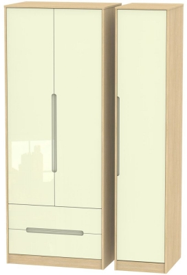 Monaco 3 Door 2 Left Drawer Tall Wardrobe - High Gloss Cream and Light Oak
