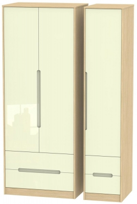 Monaco 3 Door 4 Drawer Tall Triple Wardrobe - High Gloss Cream and Light Oak