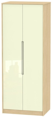 Monaco 2 Door Tall Wardrobe - High Gloss Cream and Light Oak