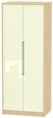 Monaco High Gloss Cream and Light Oak Wardrobe - Tall 2ft 6in Plain