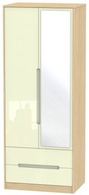 Monaco High Gloss Cream and Light Oak Wardrobe - Tall 2ft 6in with 2 Drawer and Mirror