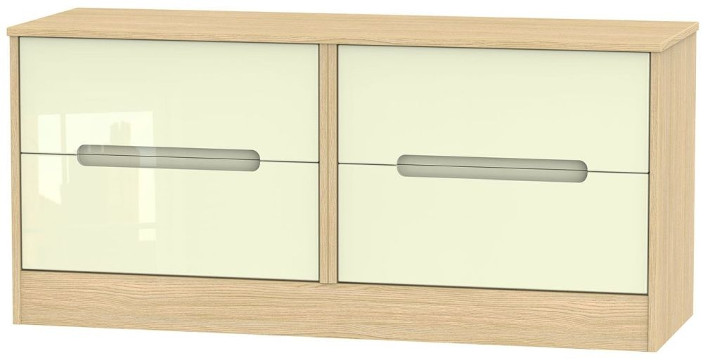 Monaco Bed Box - High Gloss Cream and Light Oak