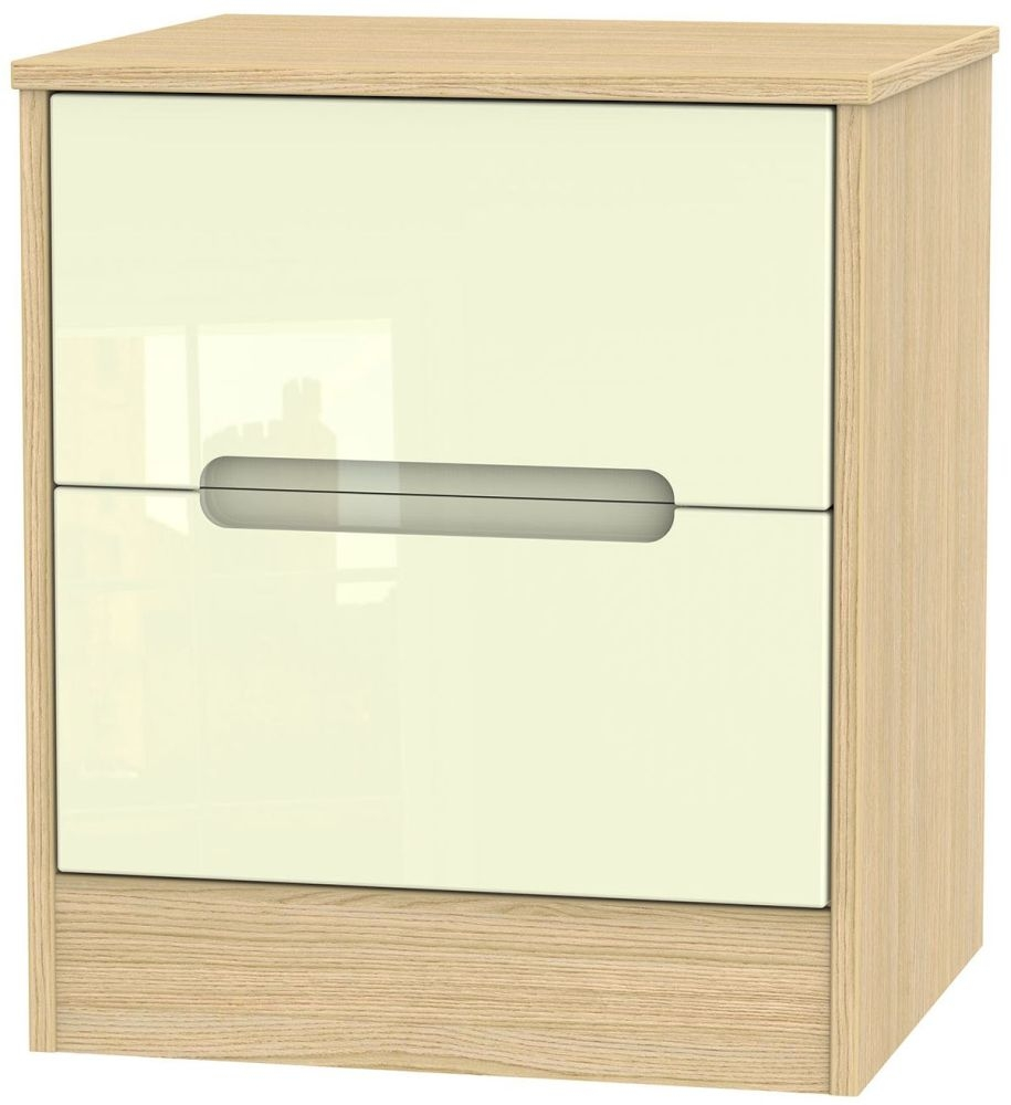 Monaco 2 Drawer Bedside Cabinet - High Gloss Cream and Light Oak