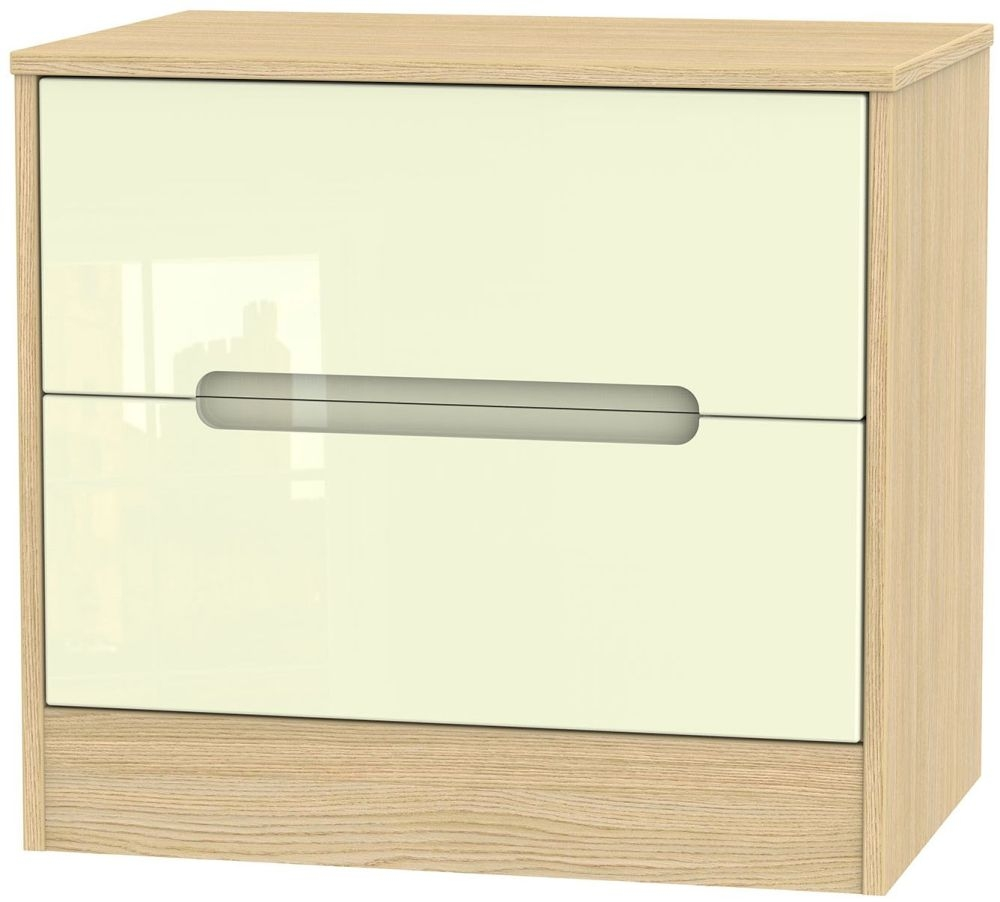 Monaco High Gloss Cream and Light Oak 2 Drawer Midi Chest