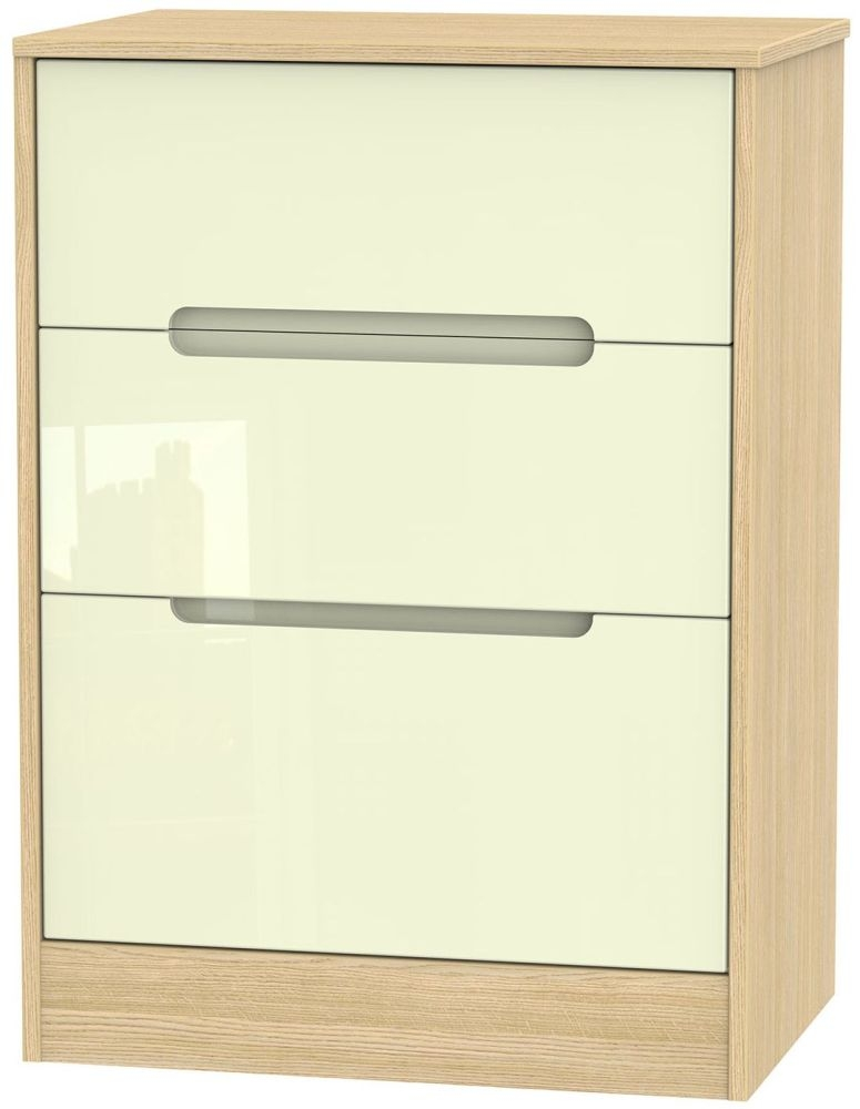 Monaco High Gloss Cream and Light Oak Chest of Drawer - 3 Drawer Deep Midi