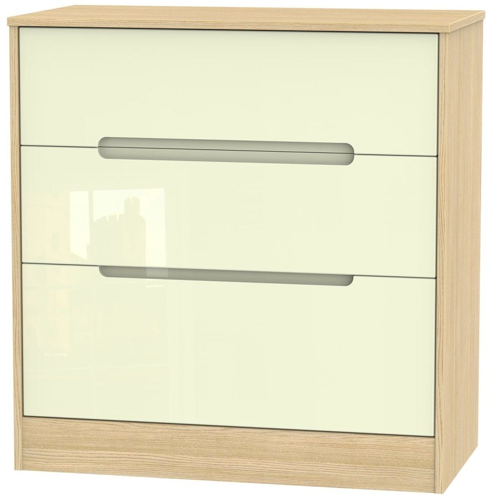 Monaco High Gloss Cream and Oak Chest of Drawer - 3 Drawer Deep