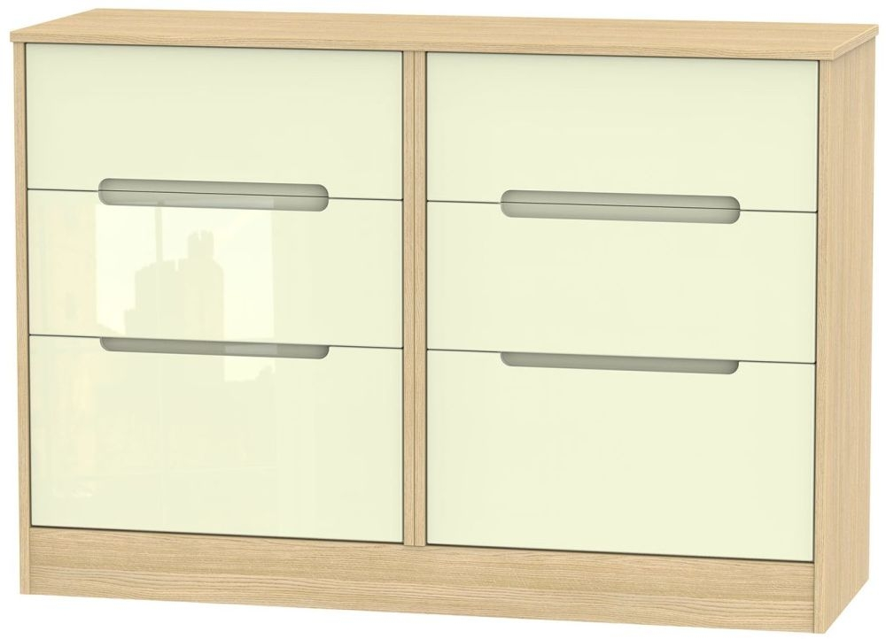 Monaco High Gloss Cream and Light Oak 6 Drawer Midi Chest