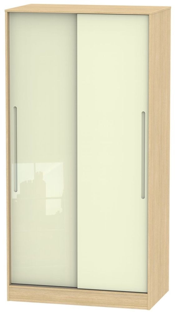 Monaco High Gloss Cream and Light Oak Sliding Wardrobe - Wide