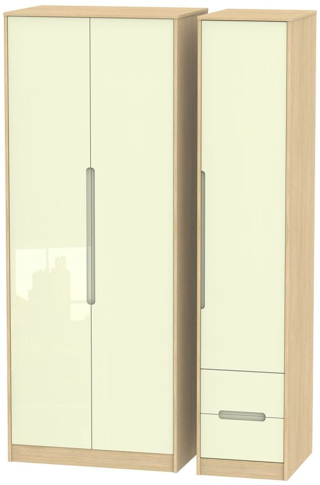 Monaco High Gloss Cream and Light Oak Triple Wardrobe - Tall Plain with 2 Drawer