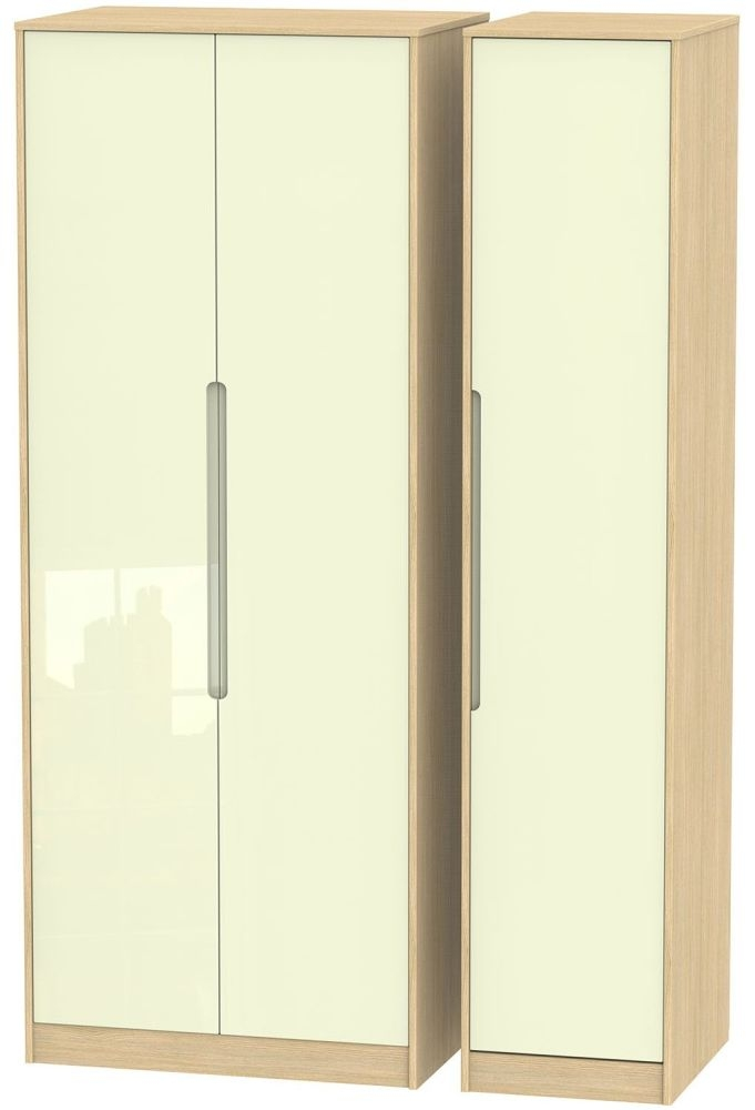 Monaco High Gloss Cream and Light Oak Triple Wardrobe - Tall Plain