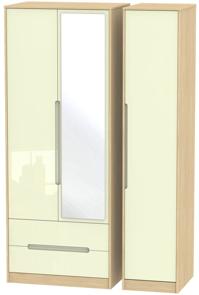 Monaco High Gloss Cream and Light Oak Triple Wardrobe - Tall with 2 Drawer and Mirror