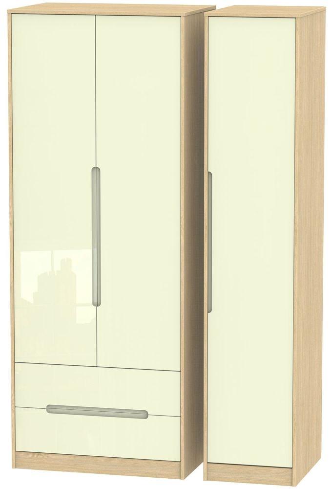 Monaco High Gloss Cream and Light Oak Triple Wardrobe - Tall with 2 Drawer