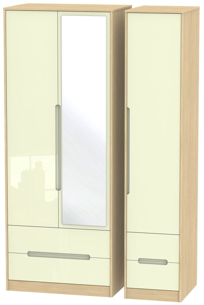 Monaco High Gloss Cream and Light Oak Triple Wardrobe - Tall with Drawer and Mirror