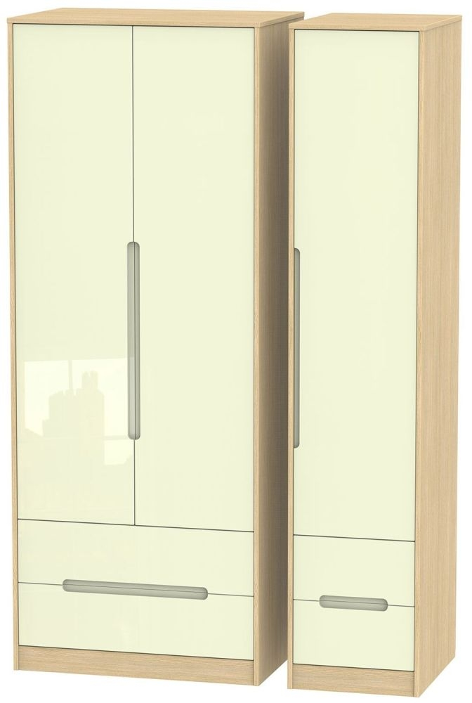 Monaco High Gloss Cream and Light Oak Triple Wardrobe - Tall with Drawer