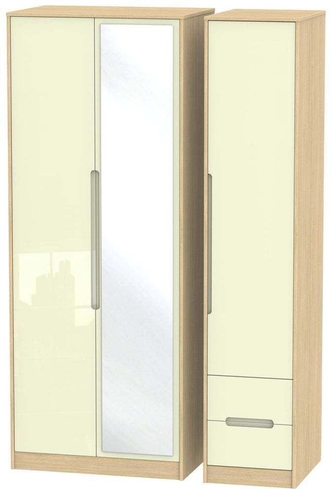 Monaco High Gloss Cream and Light Oak Triple Wardrobe - Tall with Mirror and 2 Drawer