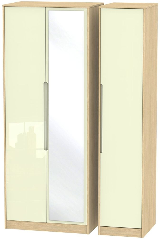 Monaco High Gloss Cream and Light Oak Triple Wardrobe - Tall with Mirror