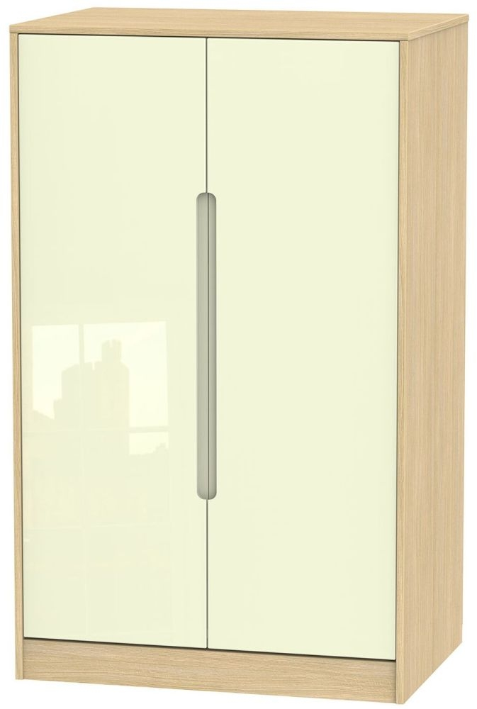 Monaco High Gloss Cream and Light Oak Wardrobe - 2ft 6in Plain Midi
