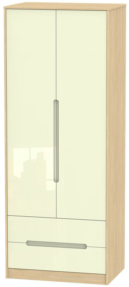 Monaco High Gloss Cream and Light Oak Wardrobe - Tall 2ft 6in with 2 Drawer