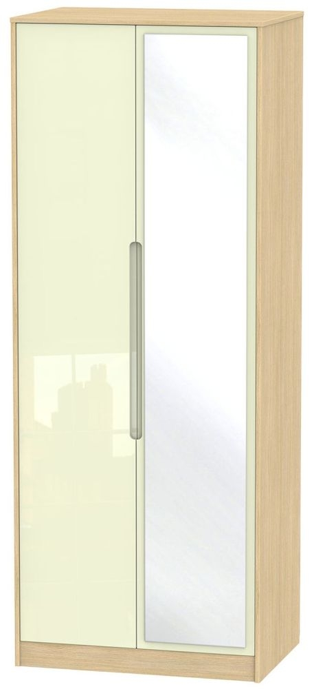 Monaco High Gloss Cream and Light Oak Wardrobe - Tall 2ft 6in with Mirror