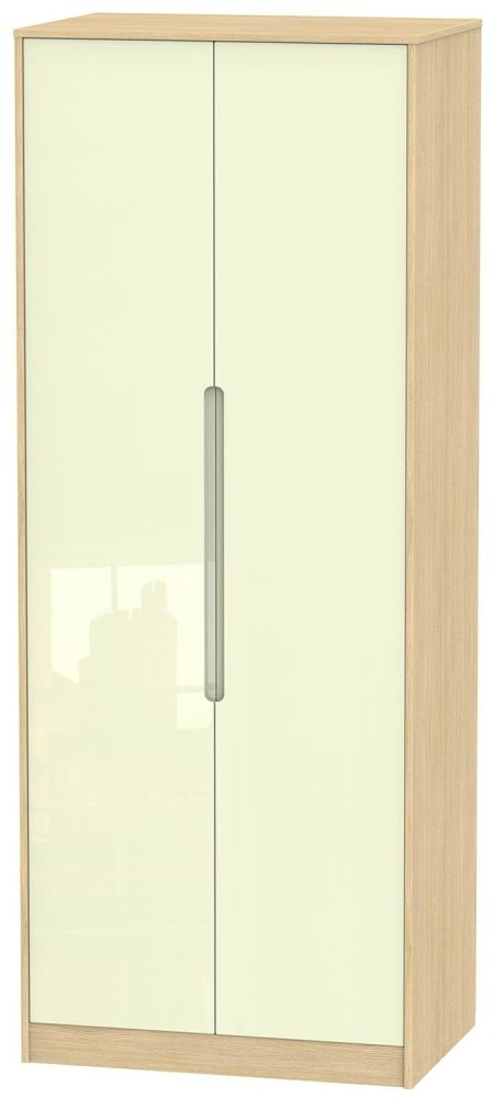 Monaco High Gloss Cream and Light Oak Wardrobe - Tall 2ft 6in with Double Hanging