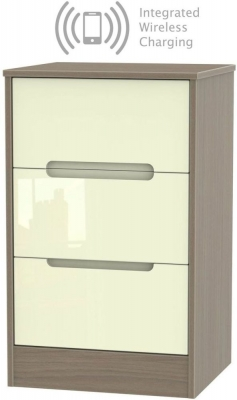 Monaco 3 Drawer Bedside Cabinet with Integrated Wireless Charging - High Gloss Cream and Toronto Walnut