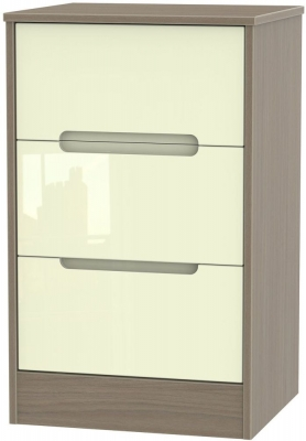 Monaco High Gloss Cream and Toronto Walnut Bedside Cabinet - 3 Drawer Locker