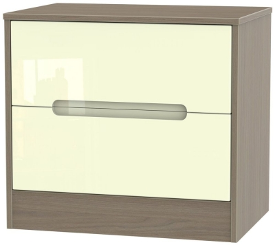 Monaco 2 Drawer Midi Chest - High Gloss Cream and Toronto Walnut