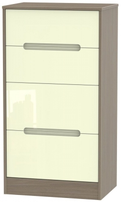 Monaco 4 Drawer Deep Midi Chest - High Gloss Cream and Toronto Walnut