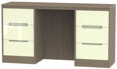 Monaco Double Pedestal Dressing Table - High Gloss Cream and Toronto Walnut