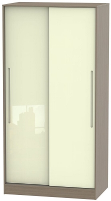 Monaco 2 Door Sliding Wardrobe - High Gloss Cream and Toronto Walnut