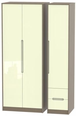Monaco 3 Door 2 Right Drawer Tall Wardrobe - High Gloss Cream and Toronto Walnut