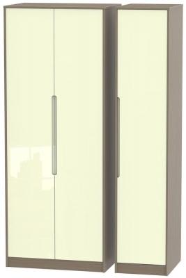 Monaco 3 Door Tall Plain Wardrobe - High Gloss Cream and Toronto Walnut
