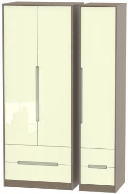 Monaco 3 Door 4 Drawer Tall Wardrobe - High Gloss Cream and Toronto Walnut