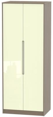 Monaco High Gloss Cream and Toronto Walnut Wardrobe - Tall 2ft 6in Plain