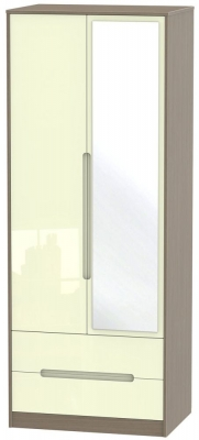 Monaco High Gloss Cream and Toronto Walnut Wardrobe - Tall 2ft 6in with 2 Drawer and Mirror