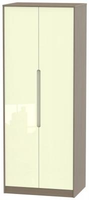 Monaco 2 Door Tall Hanging Wardrobe - High Gloss Cream and Toronto Walnut