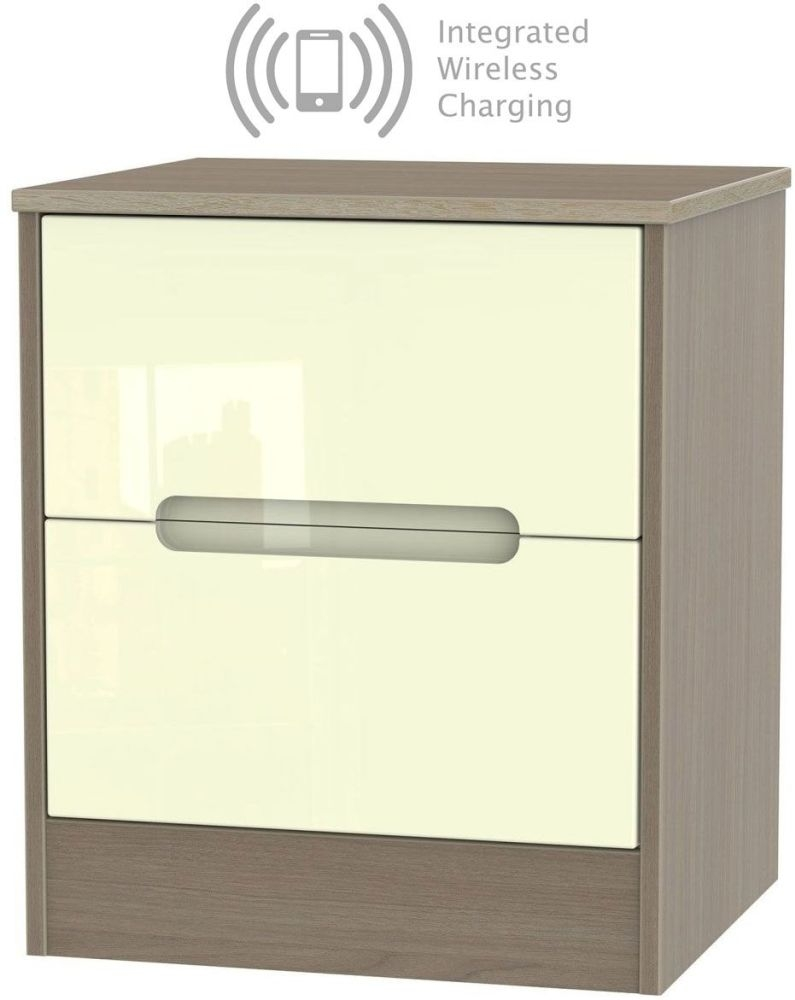 Monaco 2 Drawer Locker Bedside Cabinet with Integrated Wireless Charging - High Gloss Cream and Toronto Walnut