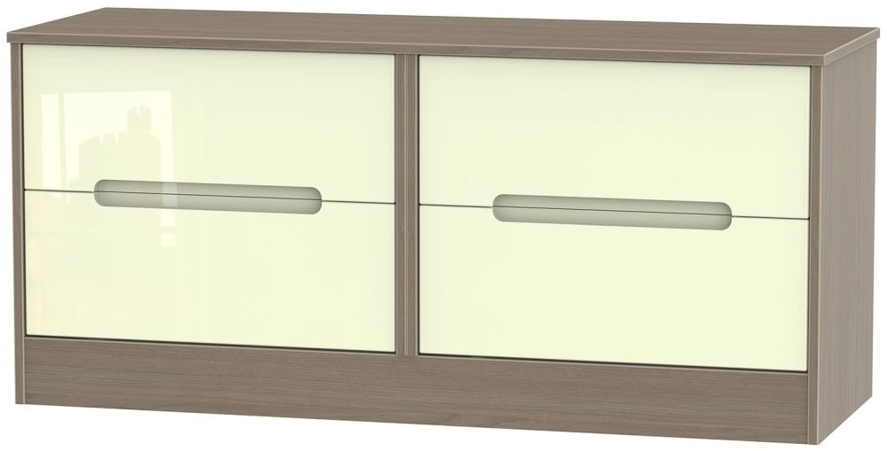 Monaco High Gloss Cream and Toronto Walnut Bed Box - 4 Drawer