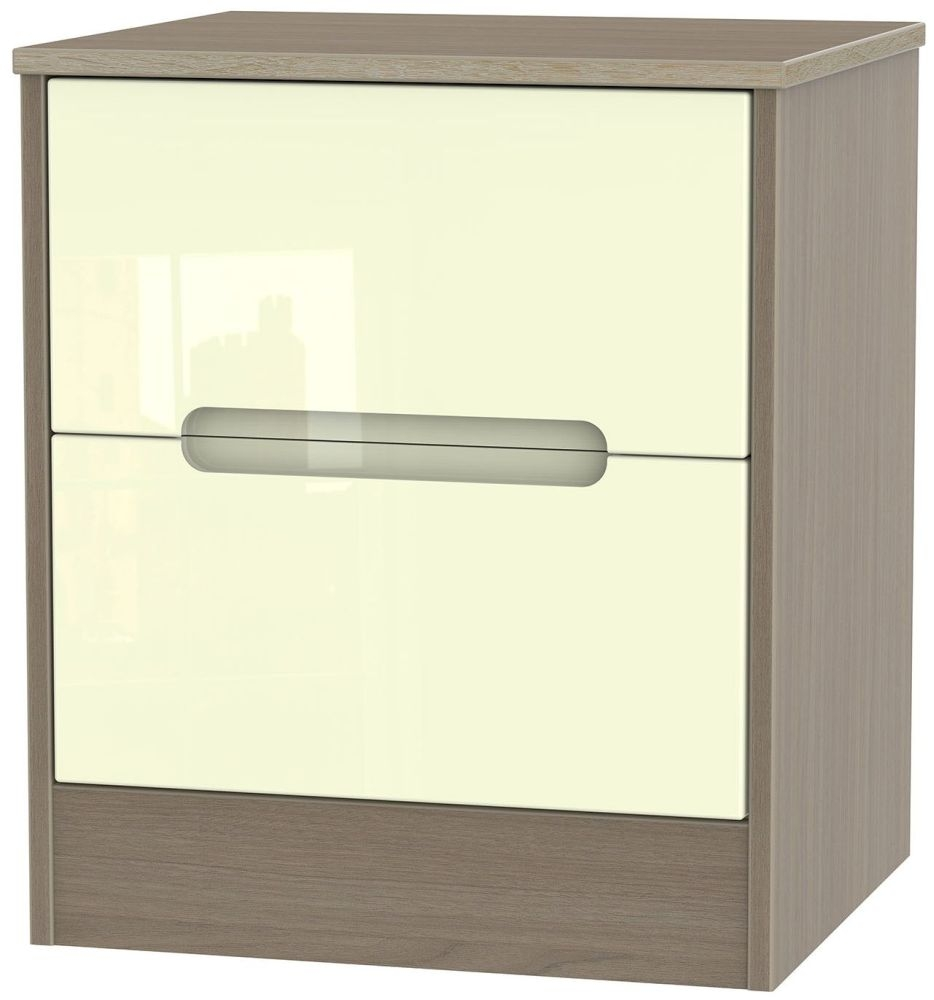 Monaco 2 Drawer Locker Bedside Cabinet - High Gloss Cream and Toronto Walnut