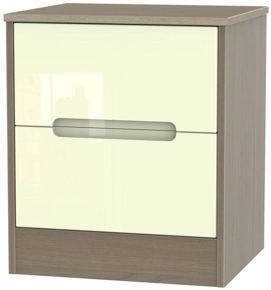 Monaco High Gloss Cream and Toronto Walnut Bedside Cabinet - 2 Drawer Locker