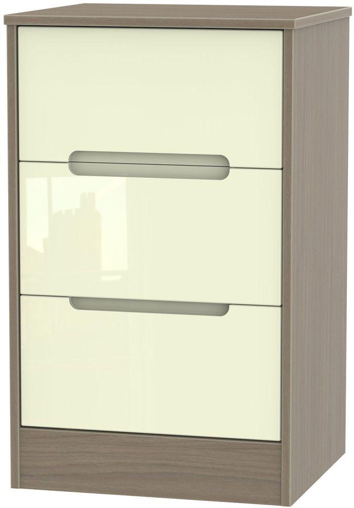 Monaco High Gloss Cream and Toronto Walnut Bedside Cabinet - 3 Drawer Locker