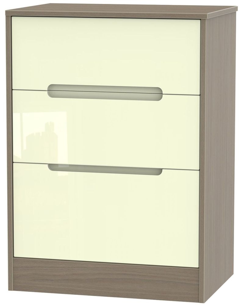 Monaco 3 Drawer Deep Midi Chest - High Gloss Cream and Toronto Walnut