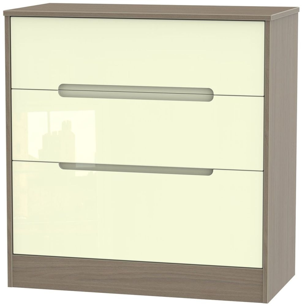 Monaco 3 Drawer Deep Chest - High Gloss Cream and Toronto Walnut