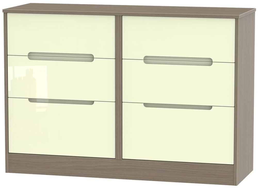Monaco High Gloss Cream and Toronto Walnut Chest of Drawer - 6 Drawer Midi