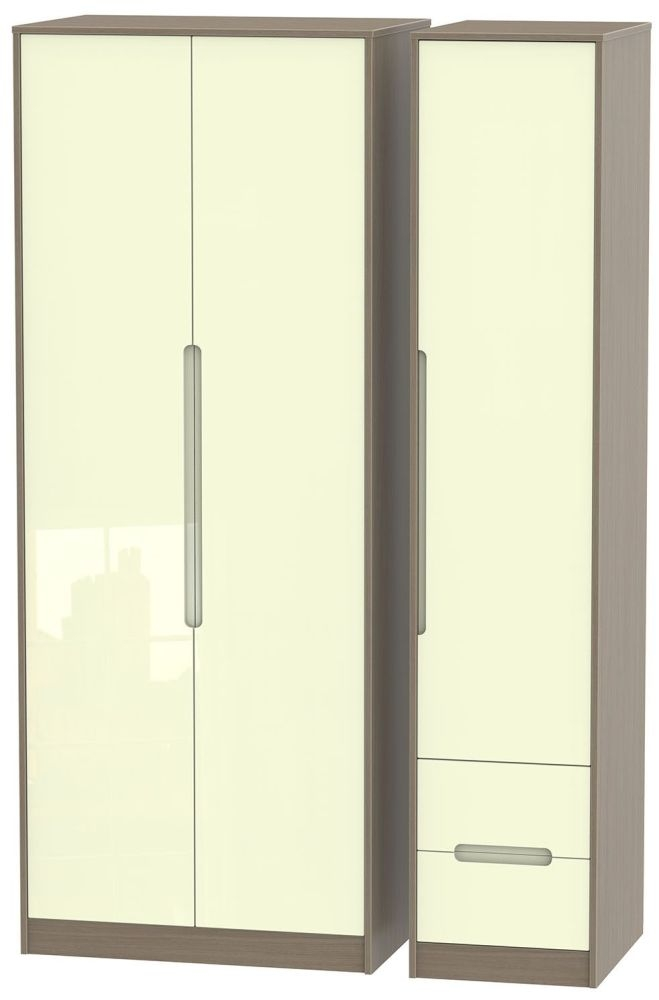 Monaco High Gloss Cream and Toronto Walnut Triple Wardrobe - Tall Plain with 2 Drawer