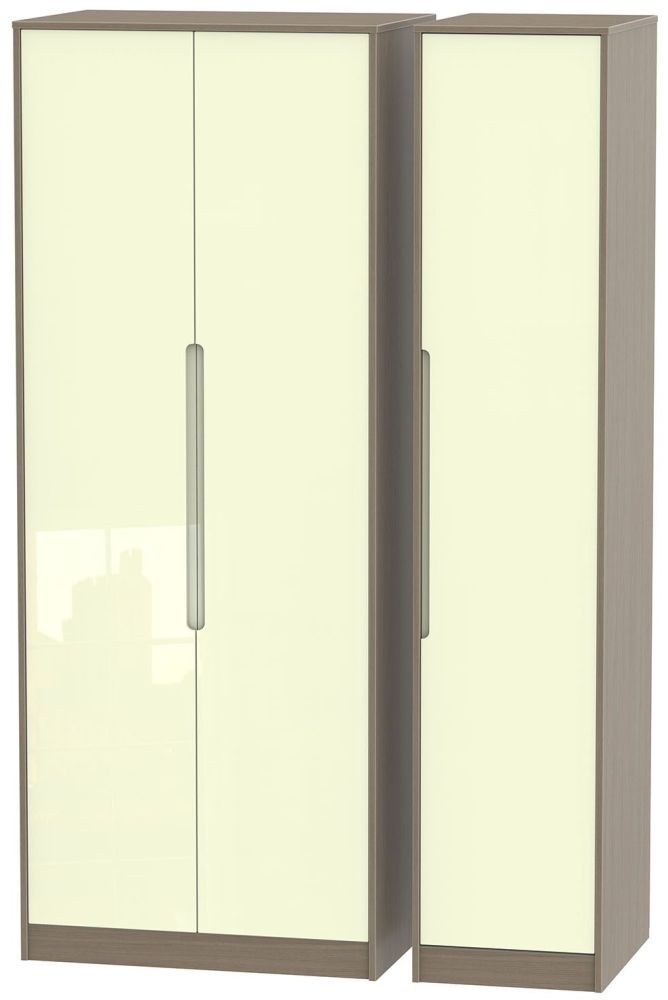 Monaco 3 Door Tall Plain Wardrobe - High Gloss Cream and Toronto Walnut